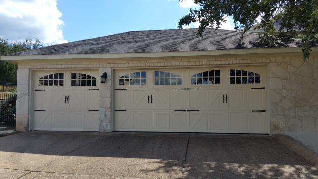 Buda, TX - Buda, Texas. replaced an 8 X 7 and 16 X7 garage doors with garage doors with windows. Replaced garage door openers  with Liftmaster garage door opener with WIFI.