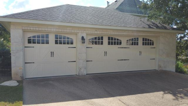 Austin Texas.  Replaced two garage doors with an 8 X 7 and an 16 X 7 carriage garage doors.