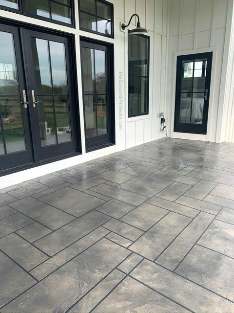 Created on site, this custom slate texture gives you an authentic look and feel with coloring that resembles hues found only in expensive flooring options (ie: acid stained concrete, upscale ceramic tiles . . .).