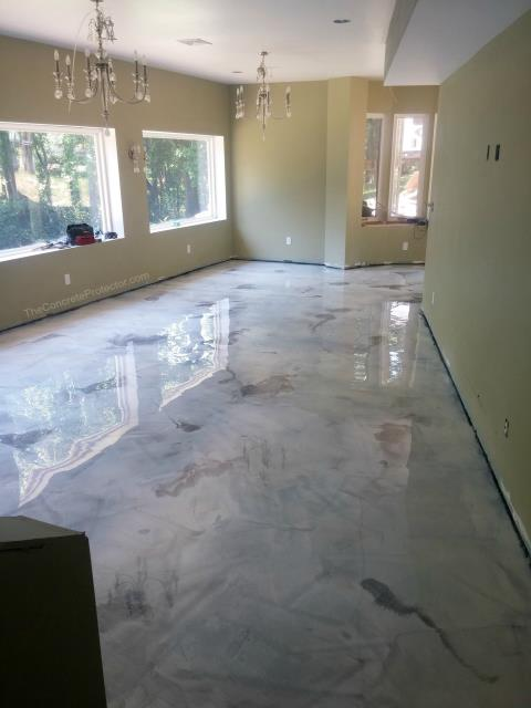 Jacksonville, FL - Marble Epoxy Flooring creates spectacular, unique, elegant floors for your dinning room! Enjoy lovely meals on a beautiful floor with the family!