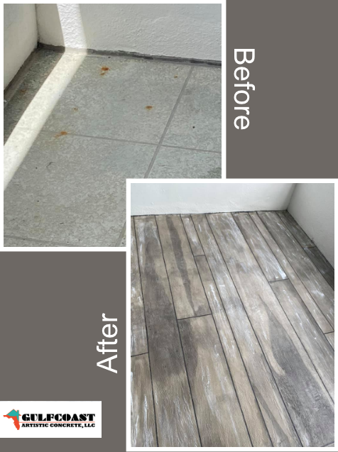 Thank you so much, Paul, for this phenomenal transformation! I had the Gulfcoast Artistic Concrete crew resurface my old patio, and they did a fantastic job! It looks just like wood, although it is actually concrete!! Everyone was very professional and the work done is high quality! I would definitely recommend them to a friend or family member anytime!!