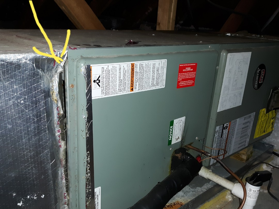 Phenix City, AL - Rheem heating system. Basic duct repair.  Hole in duct system can cause dust, hard to heat or cool rooms, high power bills,  poor respiratory health,  and more  repairs.