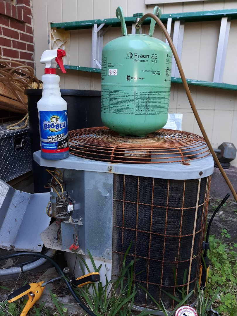 Columbus, GA - Ac not cooling. Blowing warm air.  Out of freon. Refrigerant leak check.  Add r22 freon.