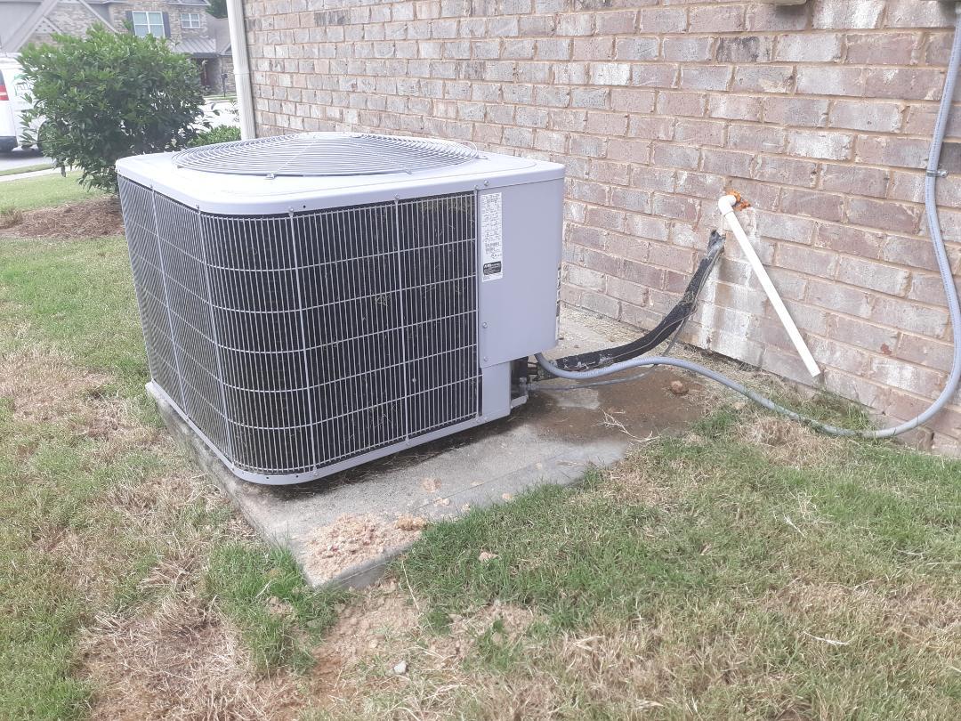 Columbus, GA - Water in the pan.  Drain clean and treat.  Carrier heat pump repair.