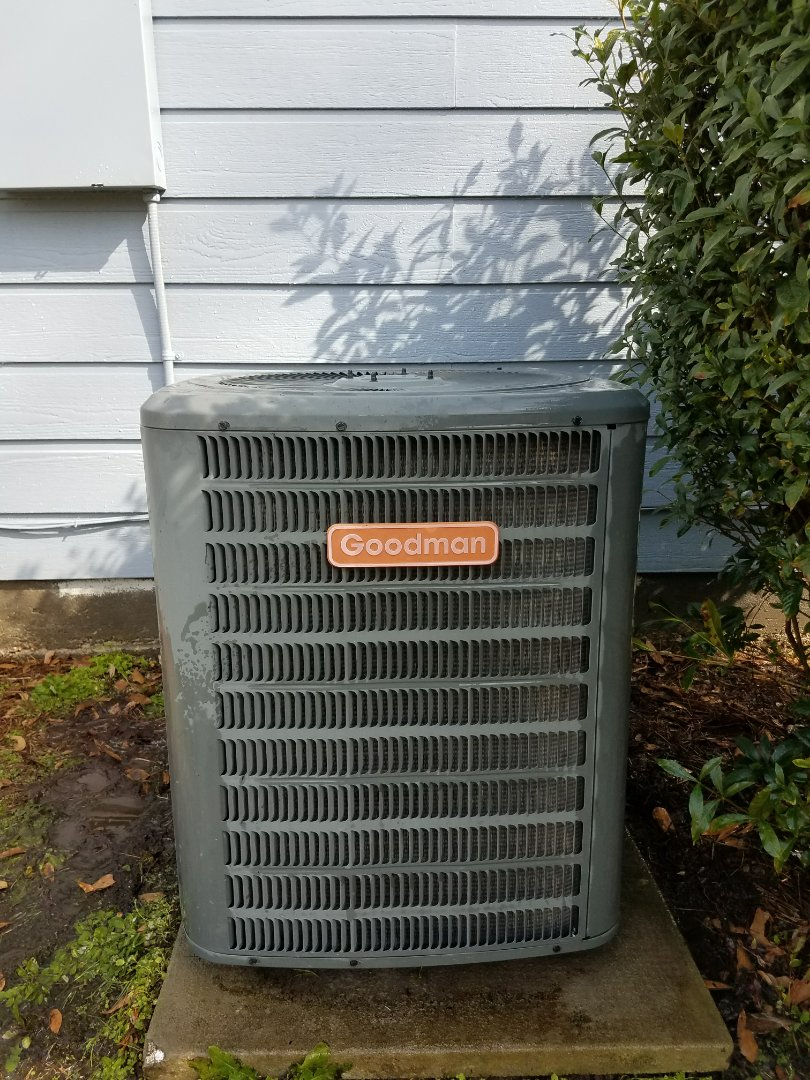 Phenix City, AL - Service call Goodman ac unit repair Honeywell thermostat.  Clean condensate over flow drain