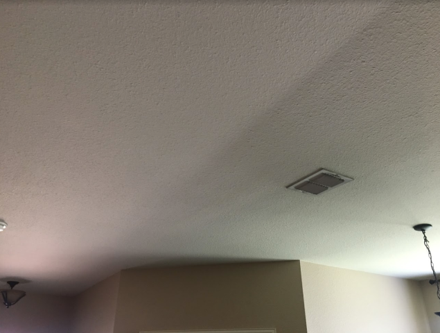 Allen, TX - Repairing this interior ceiling in this delightful home in Allen was easy! Performed sheetrock replacement and made it look radiant again by using Sherwin Williams ProMar 200 Latex Flax paint -- the results are stunning!!