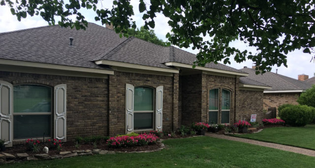 Lucas, TX - Installing 5 inch seamless gutters in Traditional Cream around this wonderful home in Allen. Not only do these new gutters increase the value of this home by helping protect the foundation of this homeowner's property!
