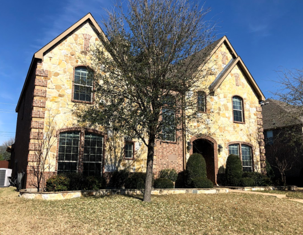 Lucas, TX - Furnishing this fantastic home in Allen with new 5 inch seamless gutters in Buckskin Brown... a perfect match for their delightful stone exterior! 😊