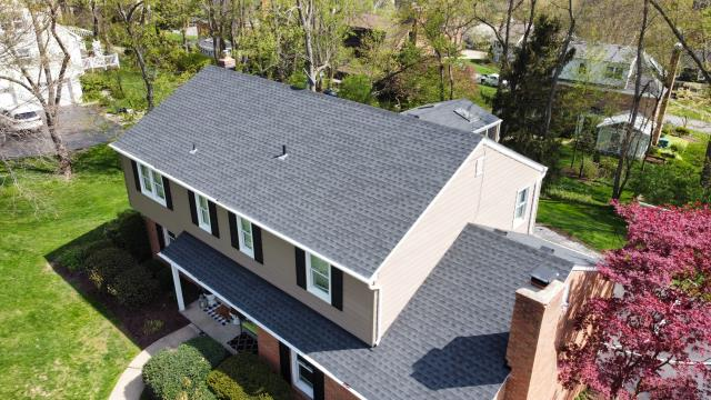 Pittsburgh, PA - Replaced old shingle roof in Upper St. Clair with new GAF lifetime warranty shingles in charcoal.