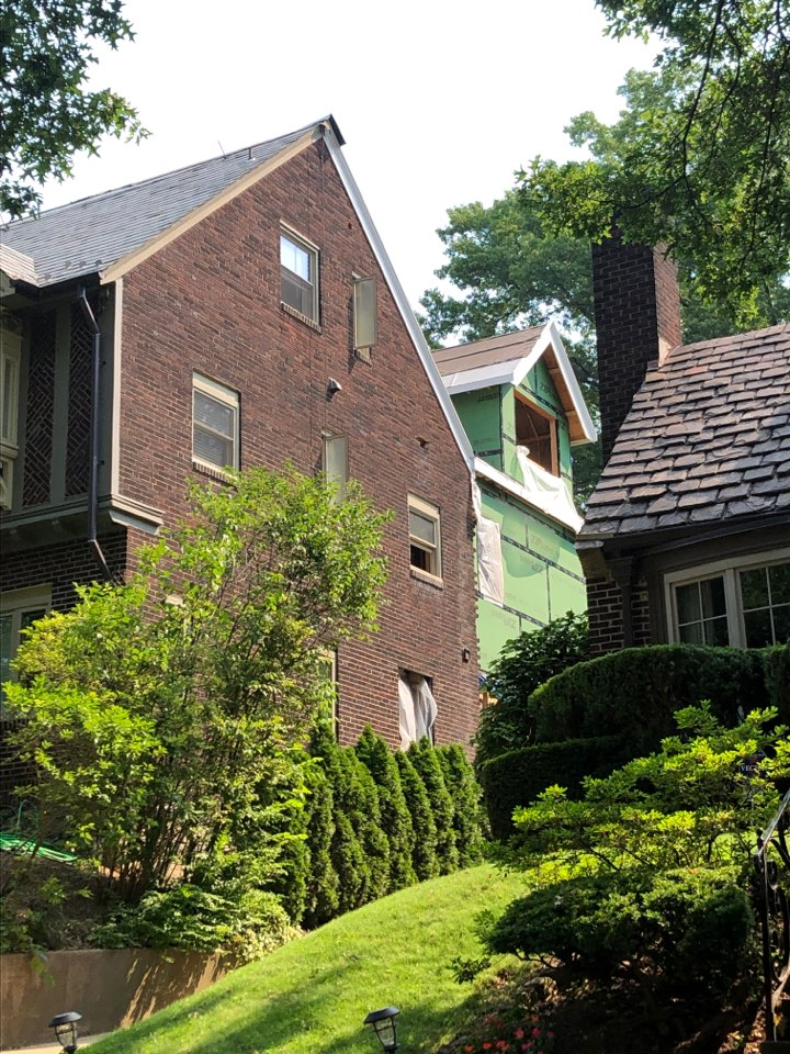 Pittsburgh, PA - New slate install on this addition. The job is in progress.