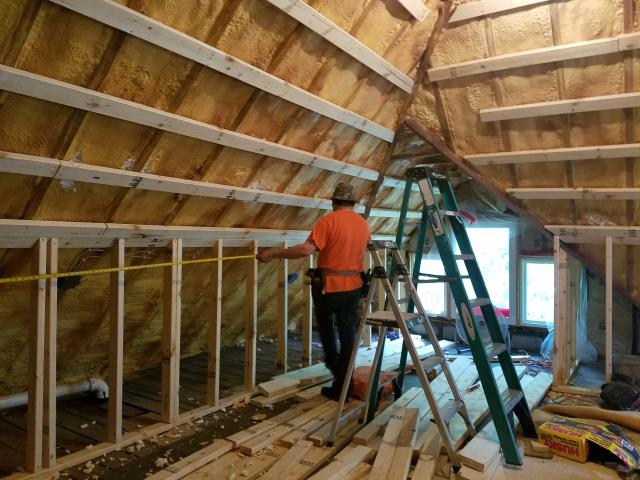 Prime Home Construction was contracted to finish this attic. We are framing, installing new sheetrock, and painting.