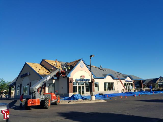 Commercial roofing project in progress. We are installing Certain Teed Carriage House shingles with synthetic underlayment.  All custom made metal valleys and plumbing vents.