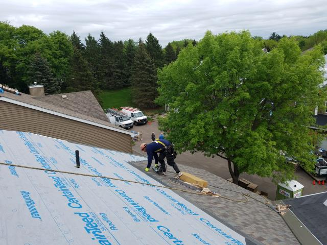 We just finishing  installing GAF Timberlines HD architectural shingles on this house. 50 SQ roofing project done in one day.