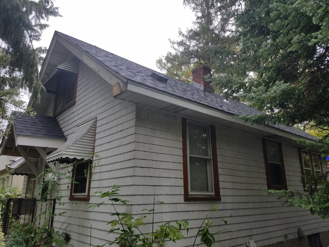 Minneapolis, MN - Customer called us with a roof leak, at the inspection we found out that this roof had hail storm damage. we replace the roof with GAF timberline shingles.
