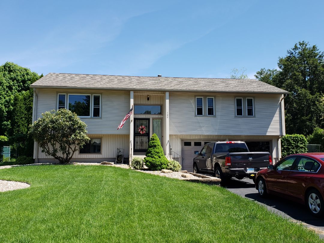 South Windsor, CT - Beautiful new GAF Timberline HD Weathered wood Lifetime shingles installed by Harmony Home Improvement a GAF Master Elite roofing contractor. Thank you to another happy customer!