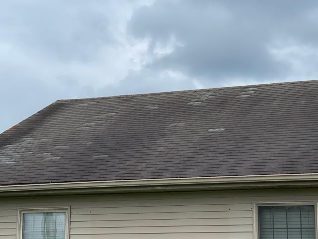 Georgetown, DE - Roof with a ton of wind damage to the shingles!  We will help the home owner put this through insurance and get it fully approved and paid for by State Farm. We will install a new GAF Timberline HDZ shingle with a 50 year non prorated warranty!