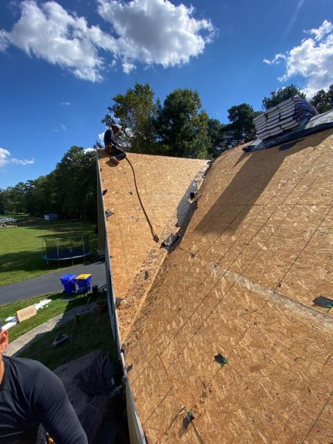 Milton, DE - Working on a full tear off  residential roof replacement.  This was covered in full with an insurance claim for wind damage from a storm.  We are installing a new GAF Timberline HDZ shingle roof.  We are the preferred roofing contraction in the area