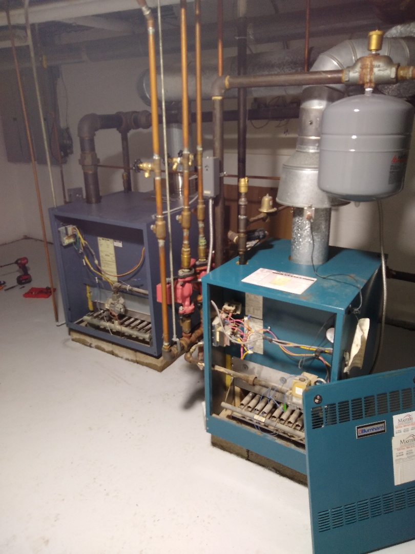 Fort Wayne, IN - Double boiler system in historical home, steam and hot water, replacement low water cut off and boiler service
