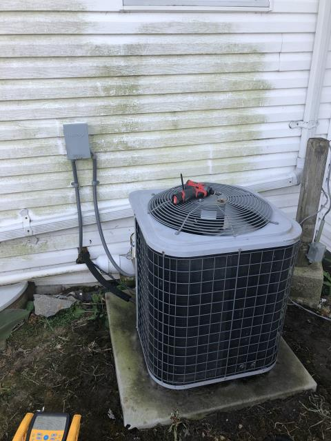 Jamestown, OH - During a tune up on a ICP air conditioner, I replaced the outdoor capacitor. The indoor capacitor is within specifications but will need replaced soon. I changed the blower speeds to high for cooling. Everything is operating properly at time of departure.