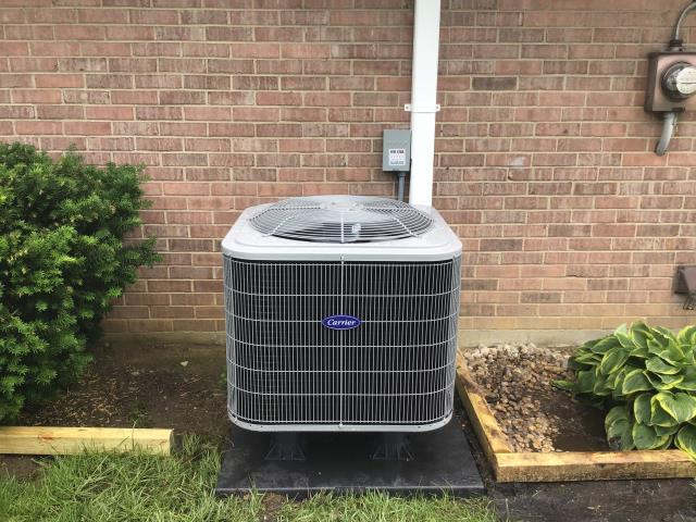 Centerville, OH - During a tune up on a Carrier heat pump, I tested the pressures, temperatures, wiring and electrical components. I inspected the return air filter and duct system. All tests and readings are within manufacturers specifications at this time.