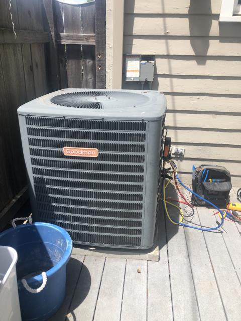 Dayton, OH - During a tune up on a Goodman air conditioner, I found that the capacitor is starting to read low and will need replaced in near future. I tested pressures, wiring and temperatures. All other components are within manufacturers specifications and system is cooling at time of departure.