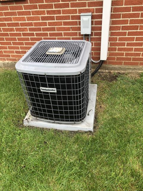 Centerville, OH - During a tune up on a Comfortmaker air conditioner, I found that the outdoor capacitor is reading low, the contactor has carbon build up and the refrigerant levels are low. I discussed replacement and repair options with customer and they will let us know. System cooling at this time.