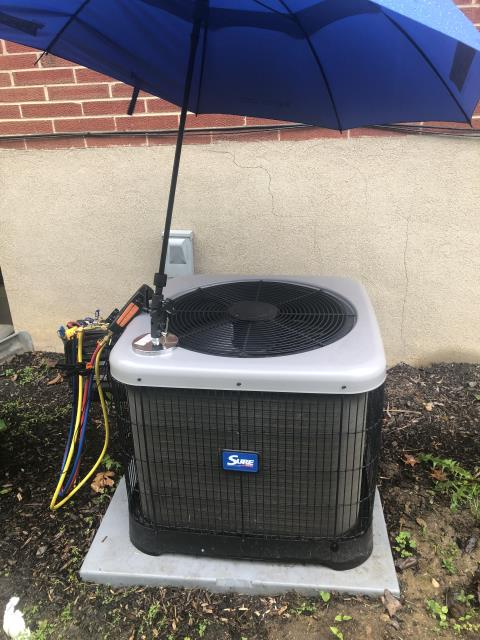 Dayton, OH - I completed the spring tune up on a Sure Comfort air conditioner.  I visually inspected the furnace.  Checked voltage and amps. I inspected the evaporator coil.  I checked the temperature difference across the coil.   Checked refrigerant charge, voltages and amps.  I rinsed the condenser coils with water.  Cycled and monitored the system.  Operating normally at this time.