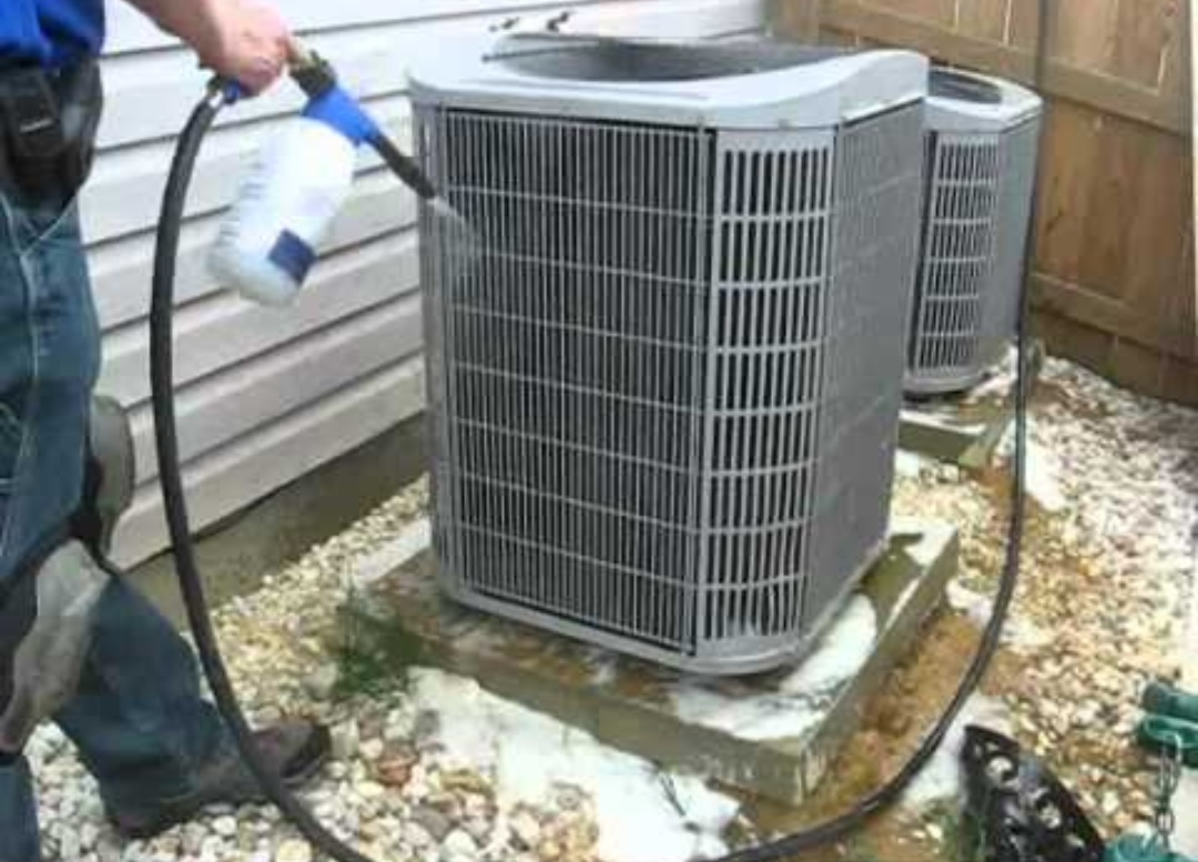 San Antonio, TX - Performing a Acid wash on a Condensor coil