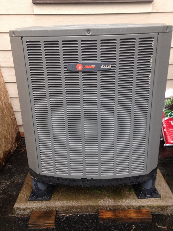 Sagle, ID - Preventive maintenance on a Trane heat pump, cooling position.