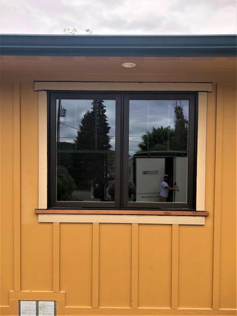 Post Falls, ID - Two Casement Windows were installed to replace 15 year old vinyl windows that were aging poorly and had broken seals.