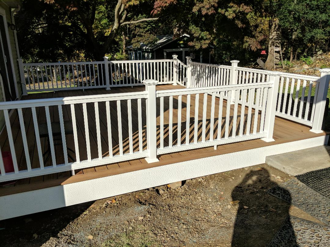 Newburgh, NY - Another beautiful composite deck completed...ready to fight off winter and welcome these homeowners outdoors next year!