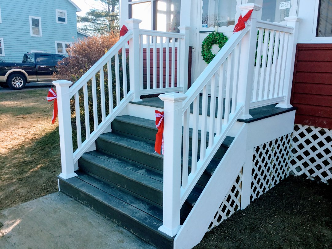 Pine Bush, NY - We value our customers and repeat customers are extra special!  Those are customers who know they can trust our expertise and craftsmanship.Front porch replacement includes Trex decking, composite rails, pvc wrap and vinyl lattice.