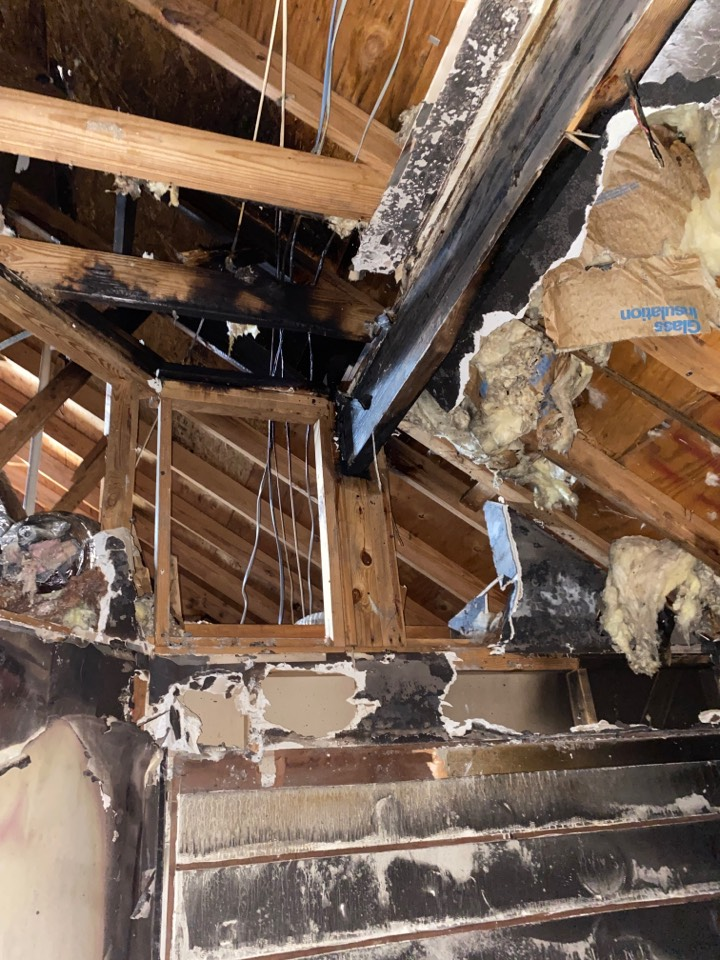 Montgomery, AL - Protek assisting with framing repairs from fire loss.