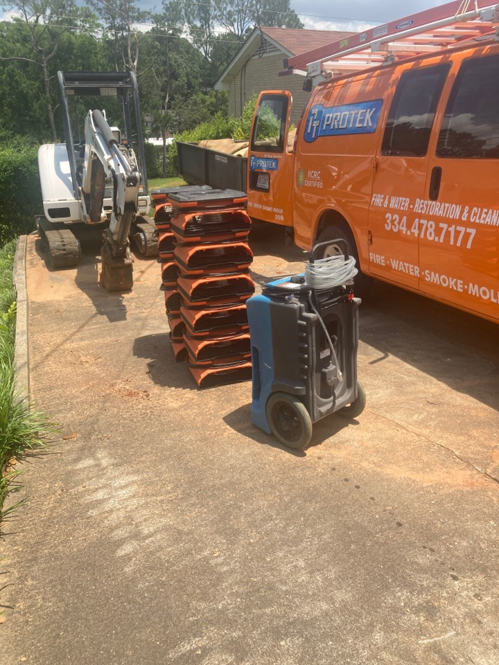 Montgomery, AL - Protek picking up debris and equipment from a water mitigation for a satisfied customer in Montgomery.