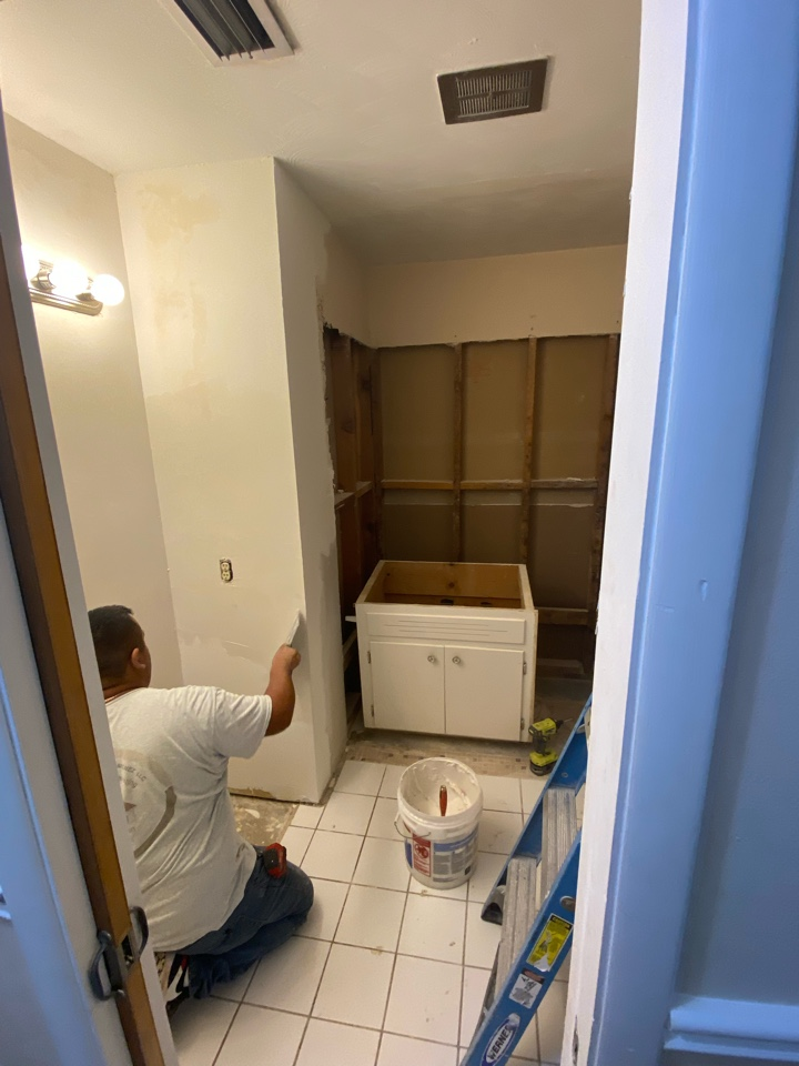 Prattville, AL - Protek Restoration's construction crew is working hard on not only restoring, but upgrading, this water damaged bathroom in this Prattville home.