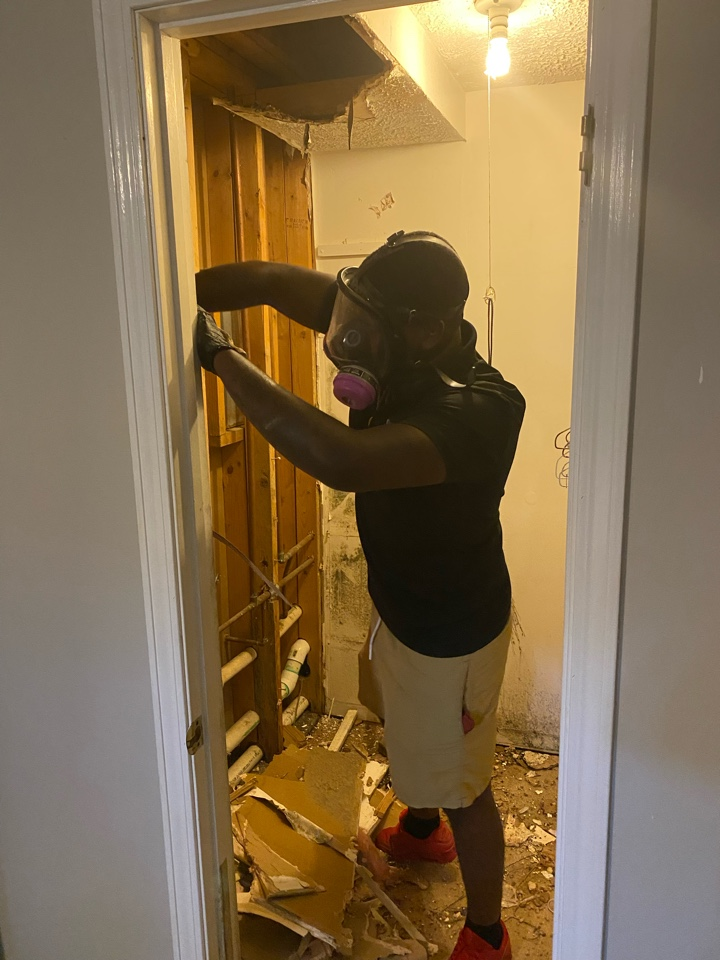 Millbrook, AL - One of our top crew chiefs working on a mold  remediation. Protek Restoration LLC