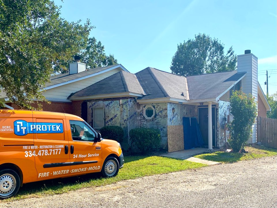 Montgomery, AL - Home in Montgomery, AL suffered damage after a storm came through. Protek came out to access damages and plan for content packout so damages can be repaired.