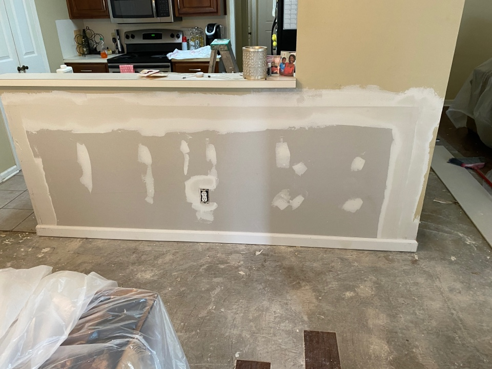 Montgomery, AL - Protek Restoration is starting some drywall, trim, and paint work at this Montgomery home. Have a new cabinet being built and new floors going down. Will look beautiful when it's complete.