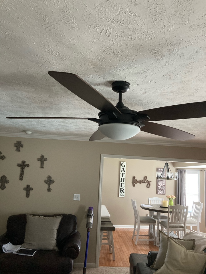 Replacing ceilings fans, a dining room light and some outdoor fixtures.