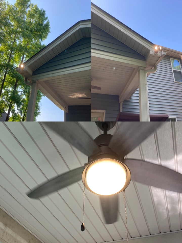 Electrician replacing a ceiling fan and installing two new flood lights.