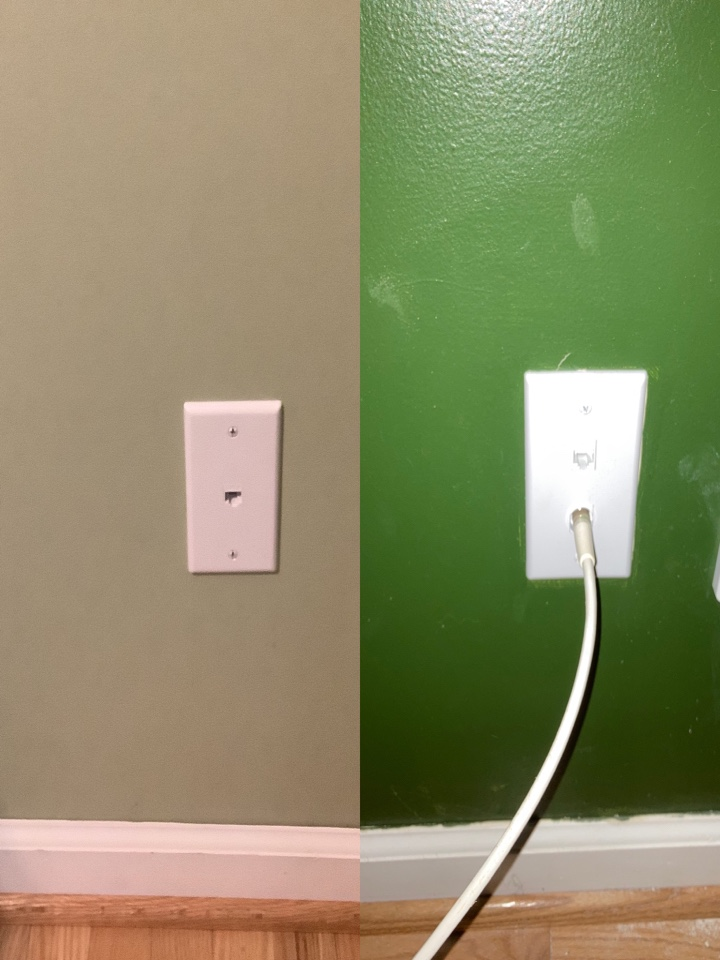 Electrician running new CAT6 line from office area to a bedroom.