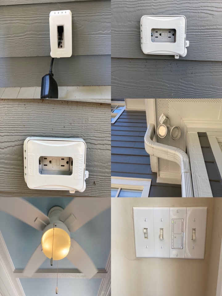 Electrician replacing 3 outdoor receptacles with bubble covers, 1 motion flood light, 1 ceiling fan with an in wall fan speed/dimmer