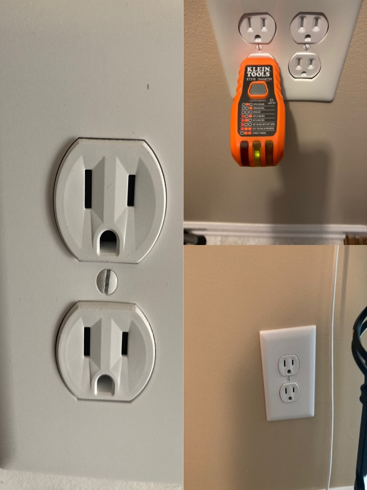Electrician installing new receptacles. One for a refrigerator in a garage and one new one in a second floor hallway for stair lights. Also repaired an open ground on a receptacle.