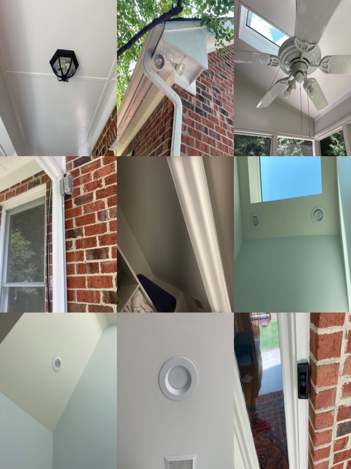 Electrician replacing multiple lights, a ceiling fan, upgrading recessed lights to LED and supplying and installing a new Ring Doorbell