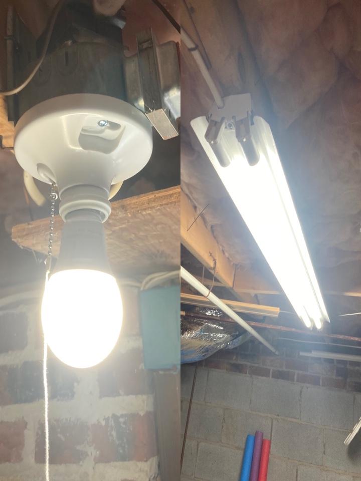Electrician repairing non working basement lights.