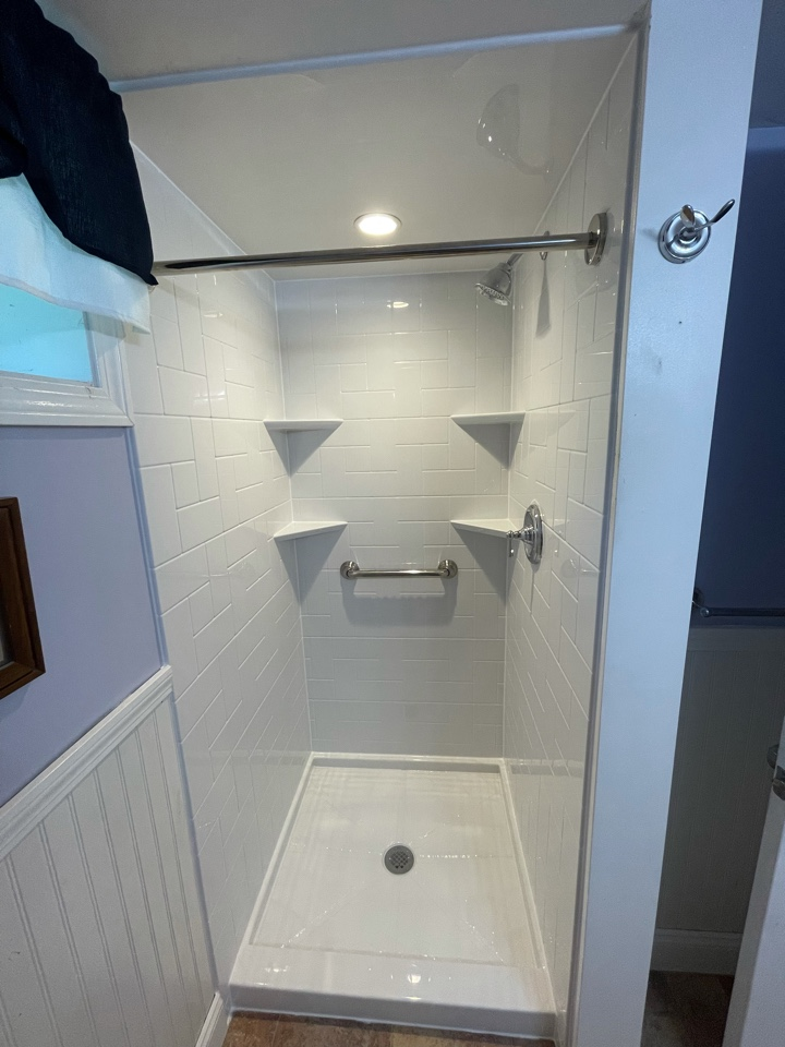 Braintree, MA - We installed two bathrooms . Removed the first floor tub and installed a walk in shower . Basement needed an update so we also installed a smaller stand up shower in its place .