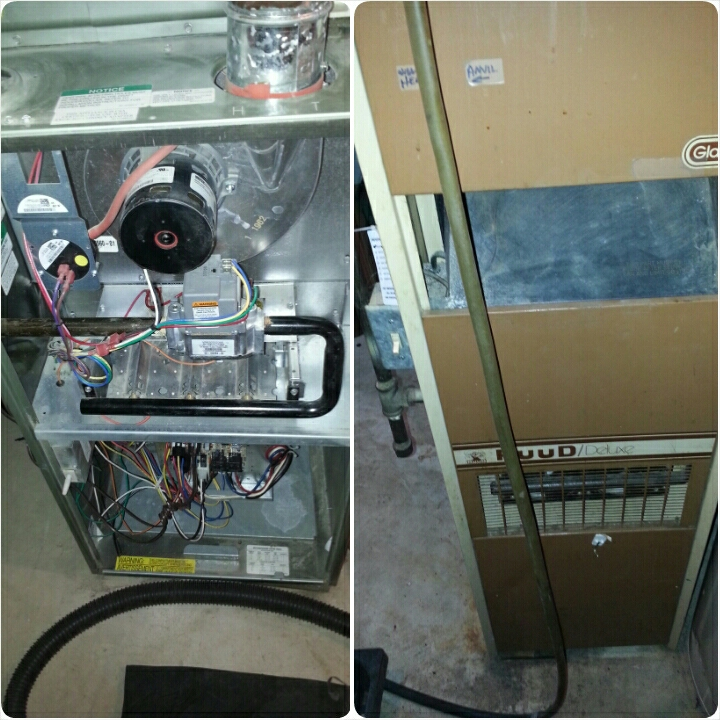 South Milwaukee, WI - Complete furnace tune up on  Ruud and Sure  heating systems. Ruud furnace showing its age heat exchanger starting to fail. Sure furnace running great at this time.
