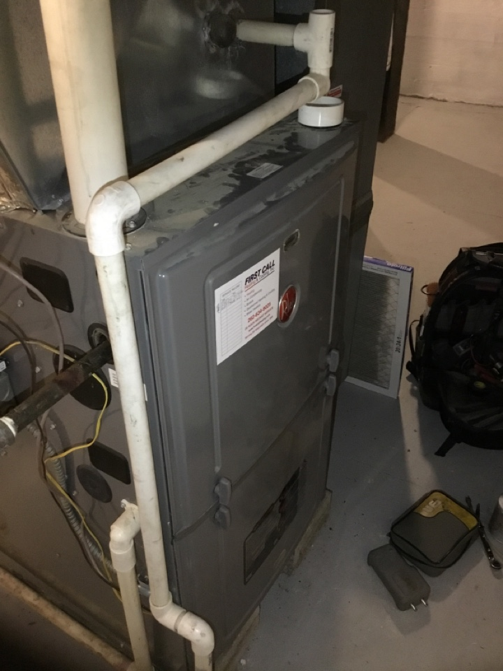Bristol, WI - Rheem furnace not heating due to a shorted gas valve. Replaced gas valve and furnace fuse, system is now running and heating well again with no further shorts or component failure to report! Customer joined annual preventative maintenance plan with First Call heating and cooling!