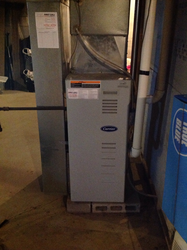 Kansasville, WI - No heat call on carrier furnace. Repair was made through replacement and installation of a brand new pressure switch.