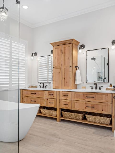Port St. Lucie, FL - Another homerun in the community of Tradition! This gorgeous master bathroom remodel is complete with show-stopping Showplace Cabinetry.